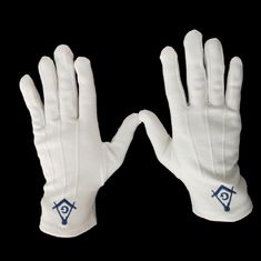 OEM Freemason Embroidery Logo Masonic White Cotton Gloves